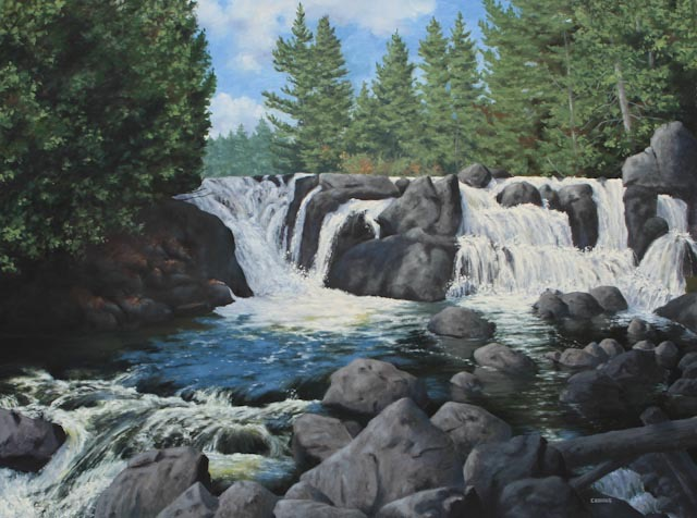 Brigham Falls 36 x 48 Oil on Panel