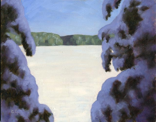 Cache Lake Framed Oil on Panel