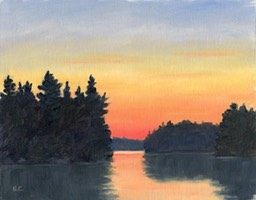 Fire Red Sunset Lake Cauchon Oil on Canvas