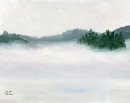 Fog on a Snowy Day Oil on Panel