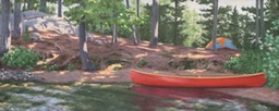 My Campsite Big Trout Lake 20x48 Oil on Panel