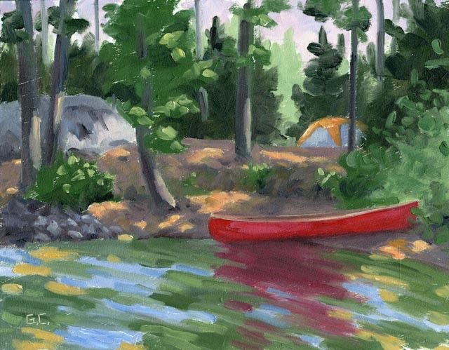 My Campsite Big Trout Lake Oil on wood Panel