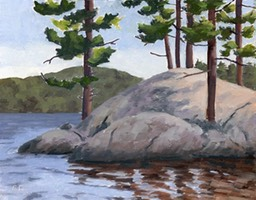Pine and Rock Big Trout Lake Oil on Panel