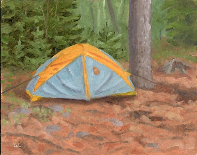 Rainy Day My Tent Oil on Board