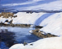 Sunlit Creek in Winter Oil on Wood Panel