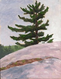 TT Pine and Rock Oil on Wood Panel