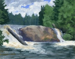 Twin Falls Oil on Canvas